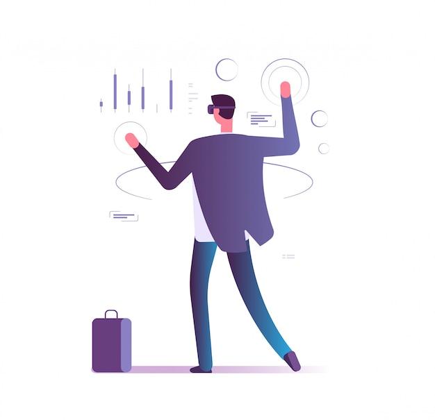 Virtueel augmented reality bedrijfsconcept. man met vr-gadgets beheert e-account. toekomstige banktechnologieën vector illustratie
