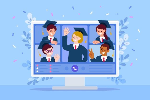 Virtueel diploma-uitreiking concept