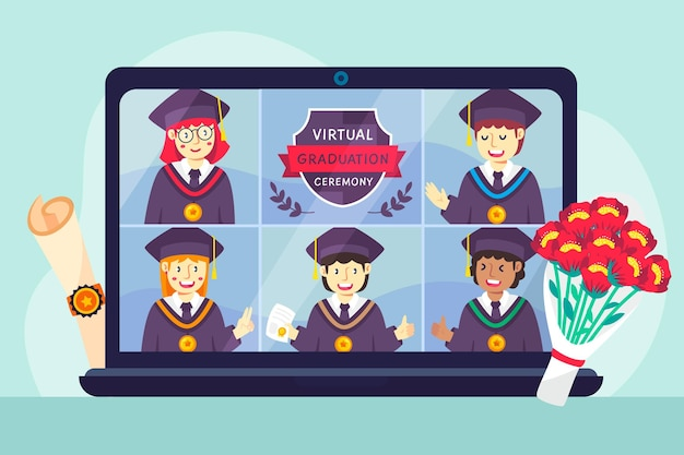 Virtueel diploma-uitreiking concept
