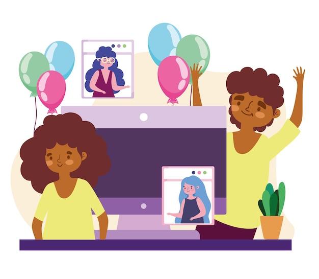 Virtueel feest, gelukkig paar en mensen op videogesprek viering partij illustratie