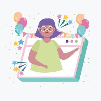 Virtueel feest, meisje ontmoet vrienden online viering evenement illustratie
