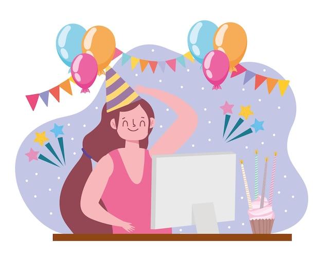 Virtueel feest, meisje viert tijdens quarantaine zelfisolatie illustratie