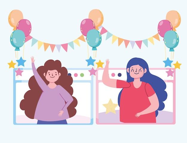 Virtueel feest, meisjes online feest, zelfisolatie illustratie
