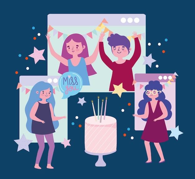 Virtueel feest, mensen verjaardag viering website verbinding illustratie