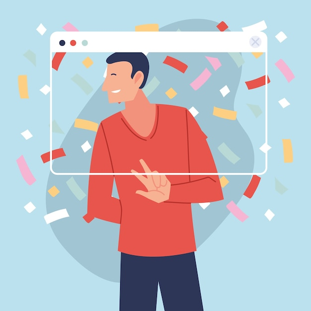 Virtueel feest met man cartoon en confetti in schermontwerp, gelukkige verjaardag en videochat