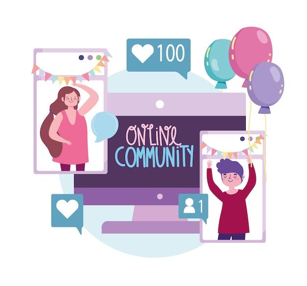 Virtueel feest, online gemeenschap die de illustratie van de gebeurtenisbijeenkomst viert