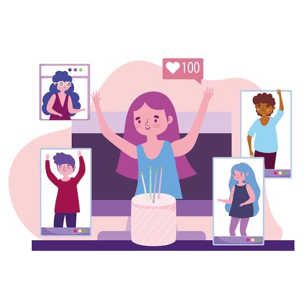 Virtueel feest, verjaardagsviering mensen in video-oproep illustratie