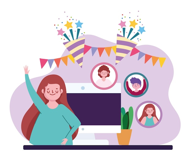 Virtueel feest, vrouw communiceren en vieren op afstand online illustratie