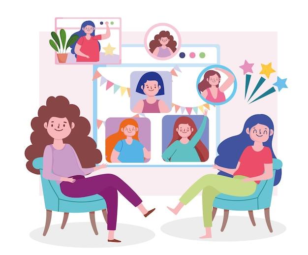 Virtueel feest, vrouwen in huis die vrienden ontmoeten, chatten met mensen online illustratie