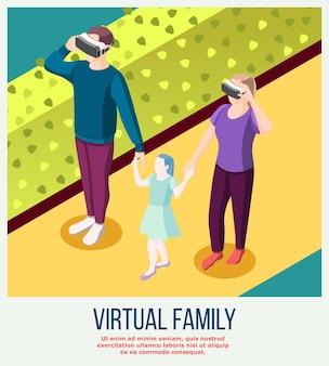 Virtueel gezin van echte volwassenen in vr-bril en fictieve dochter tijdens isometrische wandeling