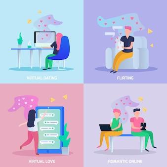 Virtueel liefde 4 orthogonaal pictogrammenconcept met online datinge chat romantische en flirtende spelen geïsoleerde vectorillustratie