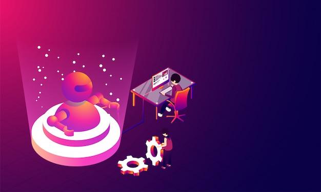Virtueel werkelijkheidsconcept, 3d illustratie van robot.