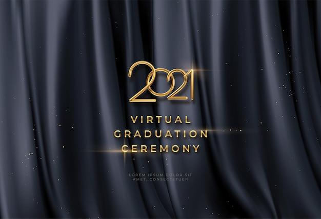 Virtuele afstuderen ceremonie achtergrond met gouden letters