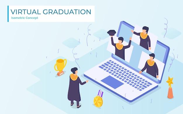 Virtuele afstuderen videoconferentie gebruik laptop universiteit hogeschool student ceremonie dragen toga van huisvirus corona pandemische impact. platte cartoon stijl.