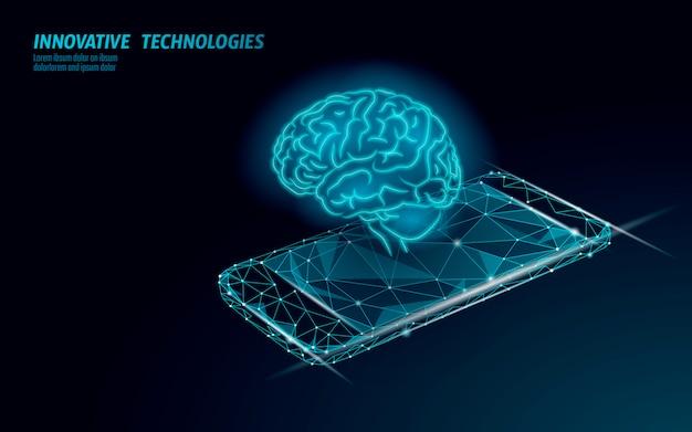 Virtuele assistent-technologie voor spraakherkenning. ai kunstmatige intelligentie robotondersteuning. chatbot-hersenen op de illustratie van het smartphonesysteem.