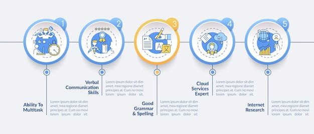 Virtuele assistent vaardigheden infographic sjabloon illustratie