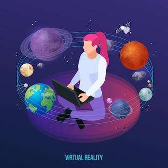 Virtuele augmented reality 360 graden isometrische compositie