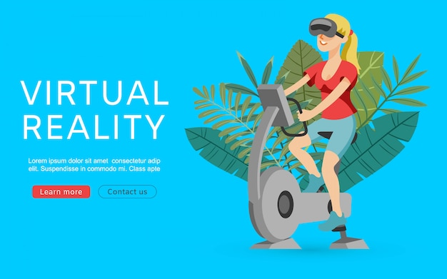 Virtuele augmented reality-illustratie. sportmeisje met vrglazen die op gymnastiekapparatuur, training en fiets uitoefenen. virtuele realiteit webbanner.