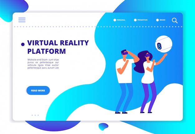 Virtuele augmented reality. mensen met mobiel entertainment en een headset die virtueel spel speelt.