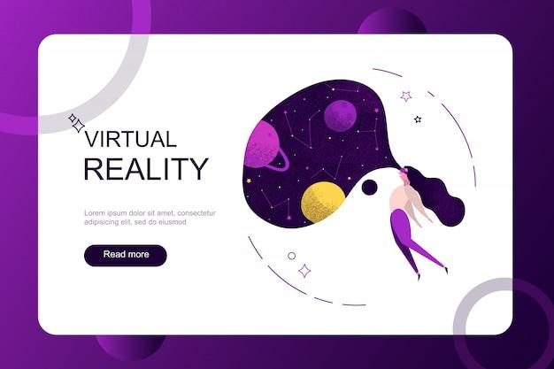 Virtuele augmented reality-vakanties op weekendconcept. meisjesvrouw die virtuele werkelijkheidsglazen dragen die de planeet van het ruimtemelkwegheelal zien.