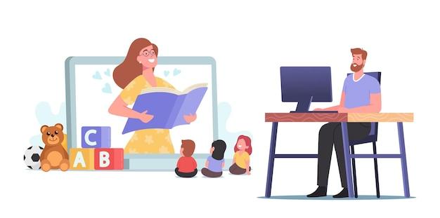 Virtuele babysitter, online oppasservice, concept voor onderwijs op afstand. vrouwelijk nanny-personage dat kinderen entertaint, boeken leest via internet terwijl vader aan het werk is. cartoon mensen vectorillustratie