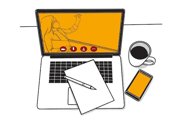 Virtuele bijeenkomst concept illustratie