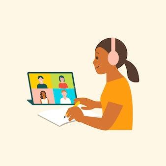Virtuele brainstorming vector teken platte afbeelding