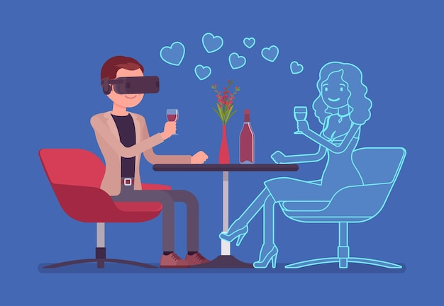 Virtuele date in restaurant
