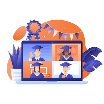 Virtuele diploma-uitreiking illustratie met afgestudeerden