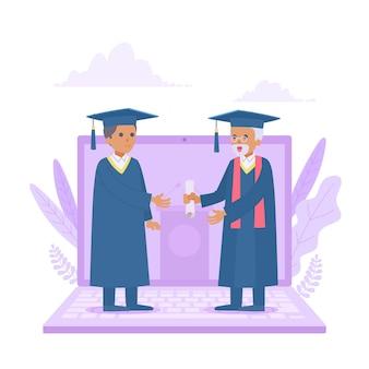 Virtuele diploma-uitreiking illustratie