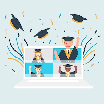 Virtuele diploma-uitreiking met klasgenoten