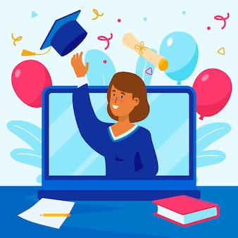 Virtuele diploma-uitreiking met laptop en ballonnen