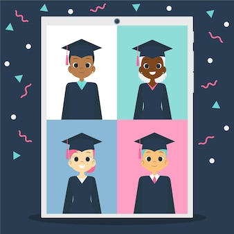 Virtuele diploma-uitreiking met studenten en confetti