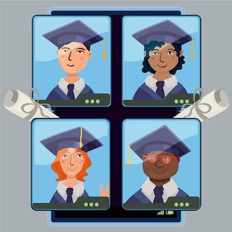 Virtuele diploma-uitreiking met studenten