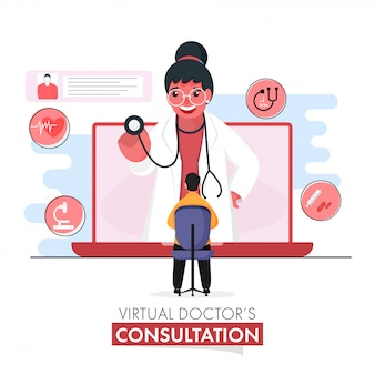 Virtuele doktersoverleg conceptgebaseerde poster met cartoon vrouw arts die patiënt onderzoekt door stethoscoop in laptop.