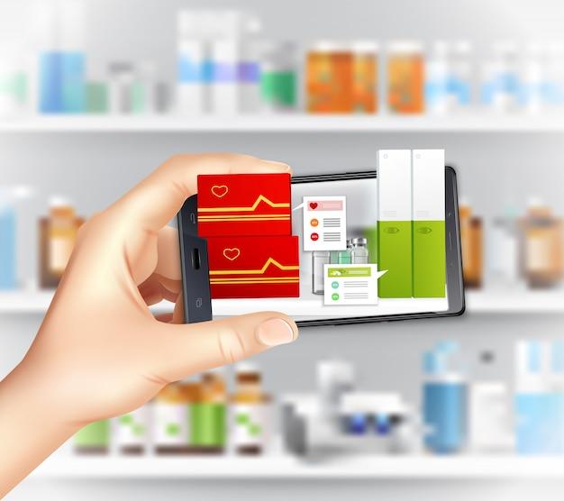 Virtuele en augmented reality-apps in de realistische samenstelling van de geneeskunde met smartphone-hand die medicatie kiest