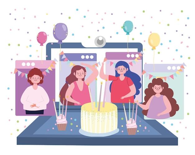 Virtuele feestverjaardag ontmoet vrienden samen in quarantaine illustratie