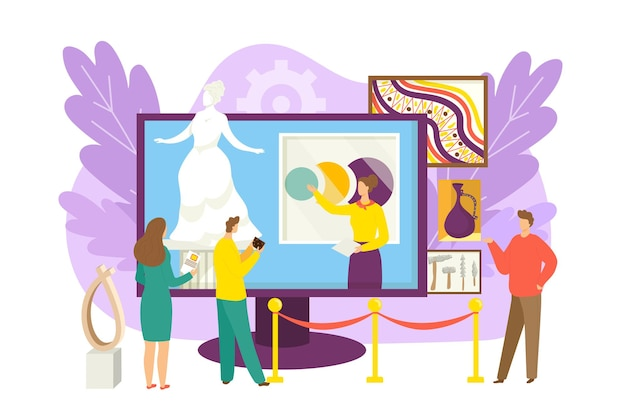 Virtuele galeriemensen bij de illustratie van de online tentoonstellingstechnologie