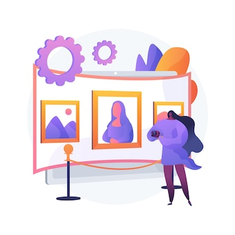 Virtuele galerij tour abstract concept vectorillustratie. gratis virtuele galerijtour, kunstwerk, online tentoonstellingservaring, sociale afstand, kunstzinnige therapie, online onderwijs abstracte metafoor.