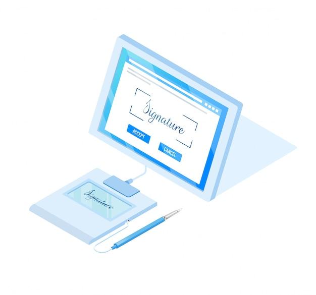 Virtuele handtekeningtechnologie. illustratie in isometrische stijl.