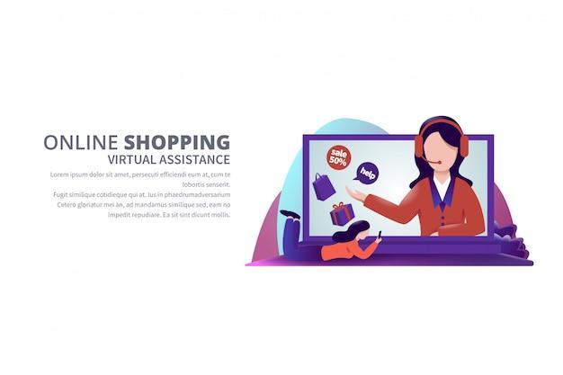 Virtuele hulp online het winkelen bannermalplaatje illustratie