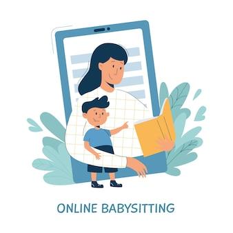 Virtuele oppas, online babysitservice, onderwijsconcept op afstand. Premium Vector