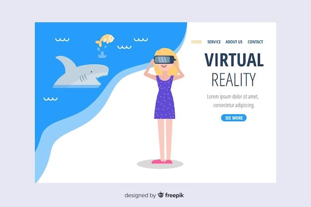 Virtuele realiteit bestemmingspagina sjabloon met landschap