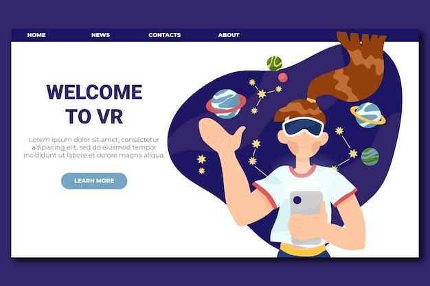 Virtuele realiteit concept bestemmingspagina