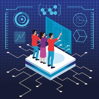Virtuele realiteit en vrienden cartoons