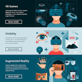 Virtuele realiteit horizontale webpagina banners set