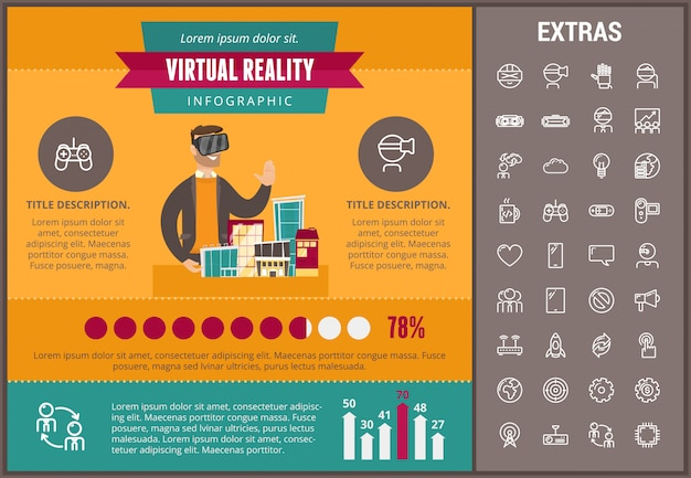 Virtuele realiteit infographic sjabloon en elementen