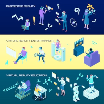Virtuele realiteit isometrische horizontale banners