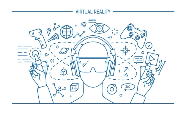 Virtuele realiteit lineart banner. contour illustratie.