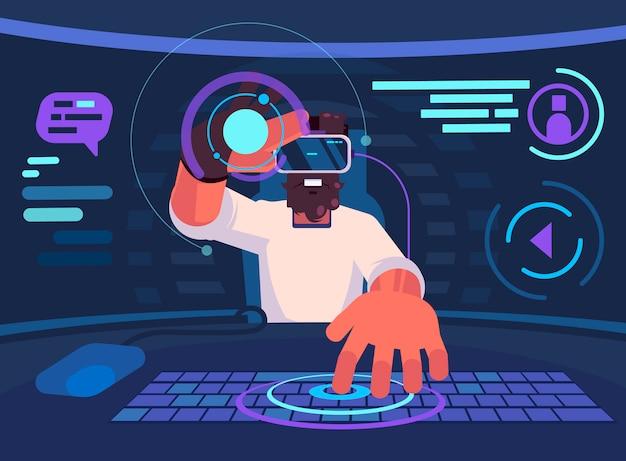 Virtuele realiteit. man met virtual reality headset en beeldscherm kijken, chatten en spelen op internet.